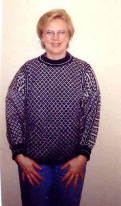 Engelsk norsktröja ett av mina första arbeten på maskin 1989
